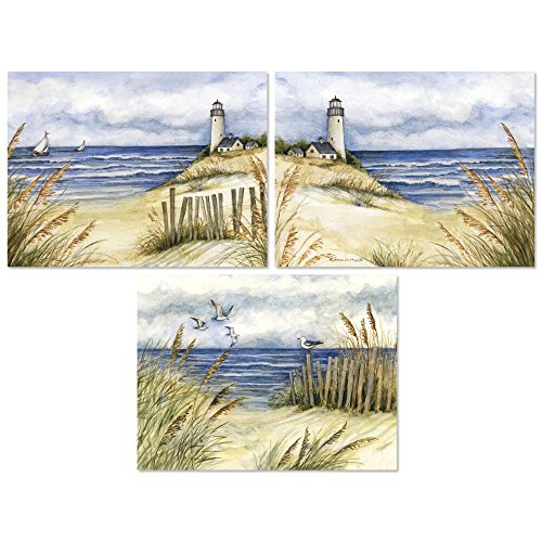 Lighthouse on Beach Note Cards - Set of 12 (4 of each)