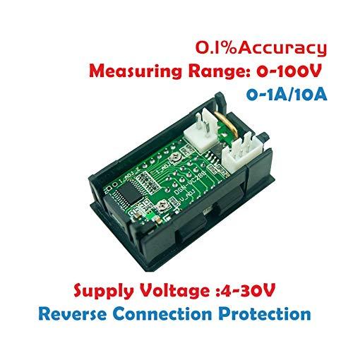 Rojo Pantalla de doble color LED Amp Dual Digital Volt Meter Gauge 2 in1 Mult/ímetro 100V 10A DC Digital Volt/ímetro Amper/ímetro Azul