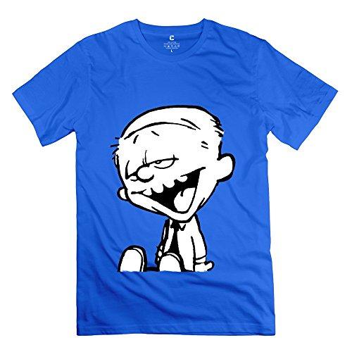 Funny Calvin And Hobbes Tiger Thomas Men's Tshirt RoyalBlue Size L