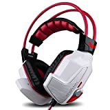 GranVela® X60 Digital Virtual 7.1 Surround Sound Stereo Over-Ear Gaming Headset with Noise Reduction Microphone for PS4, PC, Laptops - LED Lighting, Volume Control and Smart Vibration - Red
