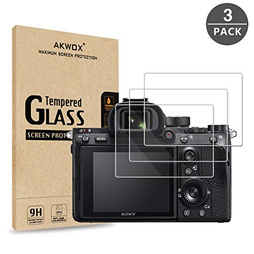 [3-Pack] Tempered Glass Screen Protector for Sony A9 A7II A7RII A7SII A77II A99II RX100 RX100V RX1 RX1R RX10 RX10II, AKWOX [0.3mm 2.5D 9H] Screen Protector for A7R3 A73 A72 A7R2 A7S2 A7R Mark 2