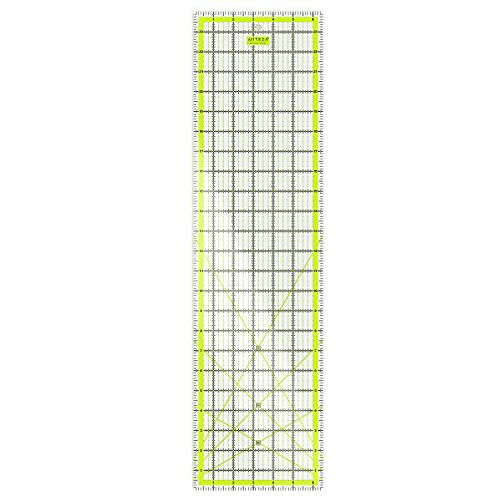 ARTEZA Quilting Ruler, Laser Cut Acrylic Quilters' Ruler with Patented Double Colored Grid Lines for Easy Precision Cutting, 6.5