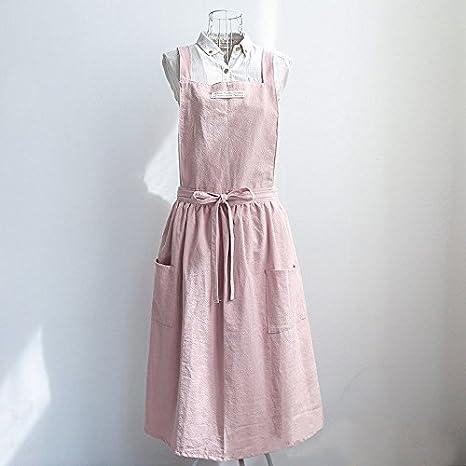 1613382643 Image Unavailable. 1  Bib Apron Cotton Linen Sleeveless Pinafore Dress Home  Cooking Florist Durable Pink