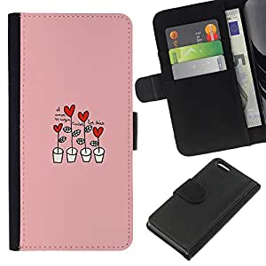 KingStore / Leather Etui en cuir / Apple Iphone 5C / Corazón rosado Dibujo lindo