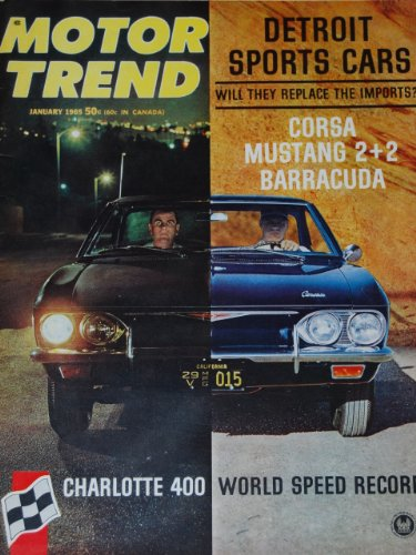 (1965 65 January MOTOR TREND Magazine (Features: Road Test on Corsa, Mustang 2+2, & Barracuda, + World Land Speed Record, 1930-1940 Cadillac V-16))