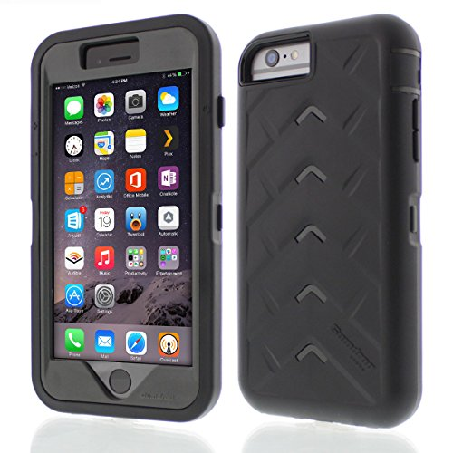 Apple iPhone 6 Plus Drop Tech Black Smoke Gumdrop Cases Silicone Rugged Shock Absorbing Protective Dual Layer Cover - Hard Snap Smoke Case
