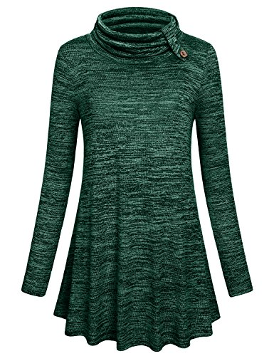 Hibelle Long Tunic Shirt For Women, Misses Fall Green Tops Flowy Cute Long Sleeve Maternity Clothing Plus Size Flare Soft Knitted Turtle Neck Lightweight Loose Sweater XL