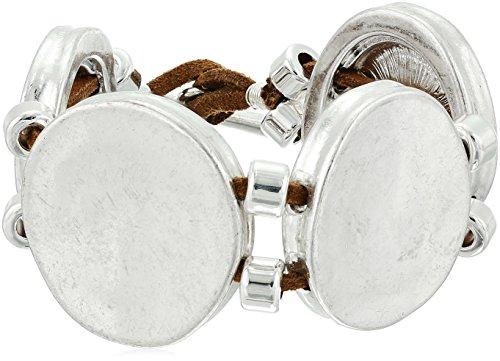 Robert Lee Morris Color Wheel Silver Circle Textured Bracelet, 8