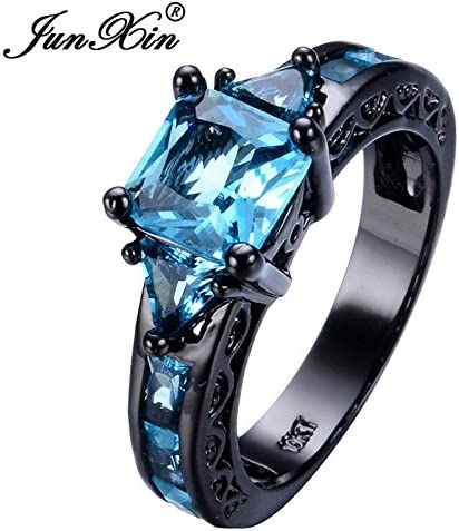 Amazon Com Aunyamanee Jewelry Shop Princess Cut Square Aquamarine Black Gold Wedding Band Ring Men Women Size 5 11 7 Home Kitchen