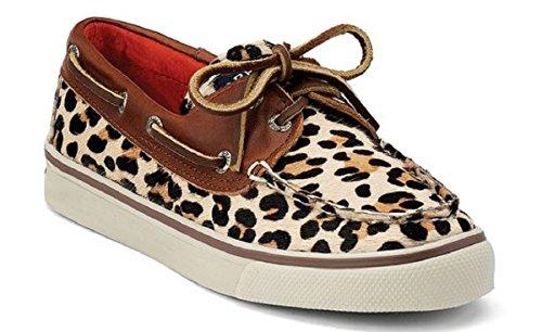 Sperry Biscayne 2 Eye Tan Leopar Boat Shoes Scarpe Da Vela Sneaker Da Donna