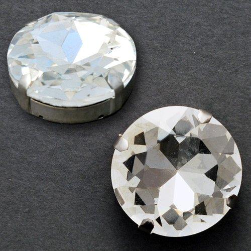 Faceted Metal Rhinestone - 16mm Crystal Round Glass faceted Rhinestone with sew-on metal cup, 2 PCS, TR-10342