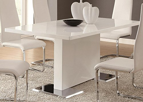 Coaster Home Furnishings Glossy White Contemporary Dining Ta