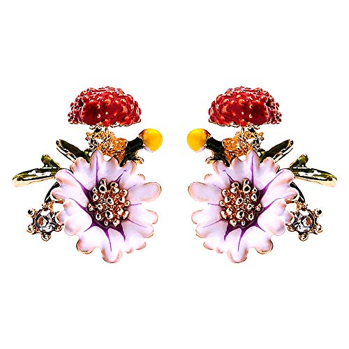 Fashion Enamel Flower Stud Earrings For Women, Allergy Resistant 925 Sterling Silver Pins Earrings