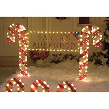 Amazon outdoor christmas yard decor candy cane lights holiday outdoor christmas yard decor candy cane lights holiday sign santas workshop aloadofball Images