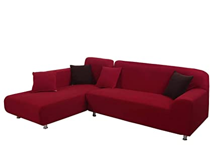 WOMACO L Shape Sofa Covers Knit Sectional Sofa Cover 2 pcs Anti-Wrinkle Stretch Sofa Slipcovers for L-Shape Couch (Red, XXL L-Shape Sofas)