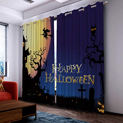 Prime Leader Curtains for Living Room- Darkening Thermal Insulated Window Treatment Curtains, with Grommet Home Decor Halloween Night Castle and Witch (2 Panels, 52 x 90 Inch Each Panel) ()