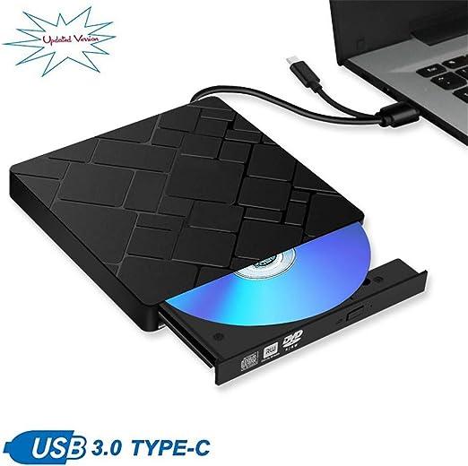 WZHESS Externa de DVD, USB 3.0 + Tipo C Unidad de CD, Puerto Dual DVD-RW DVD, portátil Regrabadora Escritor óptico de Datos de Alta Velocidad para Mac OS de Windows 7/8/10: Amazon.es: