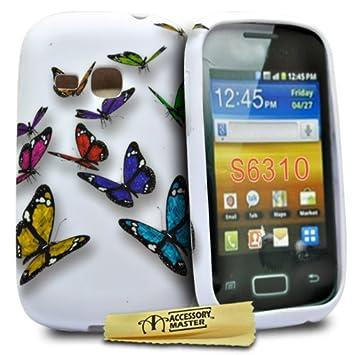 Accessory Master - Carcasa de silicona para Samsung Galaxy Young S6310, diseño de mariposas, multicolor