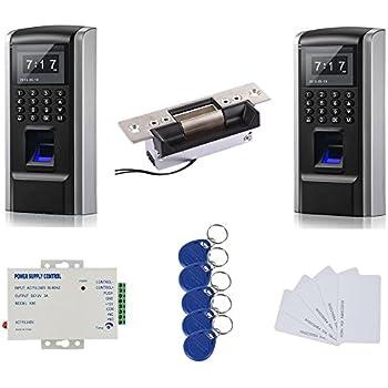 Double Way Tracking Bio Fingerprint & RFID Sistema de Control de Acceso Kit & Electric Strike Lock + 110-240V Fuente de alimentación + RFID Keyfobs/Tarjetas