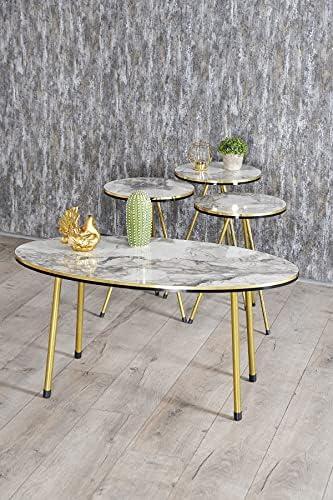 4 Piece Living Room Table Set, SUNRISE HOME DECOR...