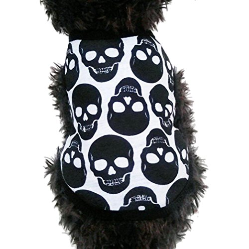 2017 Hot Pet Vest! AMA(TM) Pet Puppy Small Dog Clothes Skull Printed Vest T-Shirt Sweatshirt Doggy Apparel Costume (M, (Snow White Dog Costume)