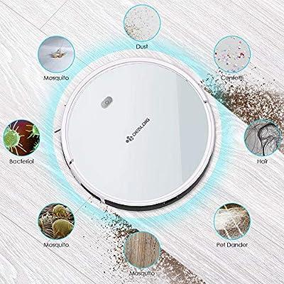 Dealdig Robot aspirador potente con estación de carga automática, robot aspirador para pelo de animales, alfombras y suelos duros con Alexa y Google Home, color blanco: Amazon.es: Hogar