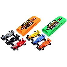 Top Team Racing 8 Piece Toy Vehicle Racing Play Set, Push Back Cars Into Chamber, Press Button to Launch