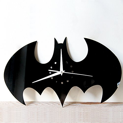 SHINA Creative 3D Bat Acrylic Wall Clock for Home Decoration And Unique Gift (Black) (Acrylic Alec Black)