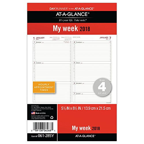 AT-A-GLANCE Day Runner Weekly Planner Refill, January 2018 - December 2018, 5-1/2