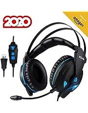KLIM Impact V2 - Gaming Headset und Mikro (USB) - 7.1 Surround-Sound + Isolation - Hochqualitativer Klang + Klangvolle Bässe - Gaming Headset und Mikro für PC/PS4 Videospiele [ Neue 2020 Version ]