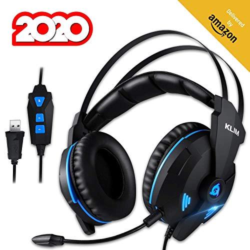 🥇 KLIMTM Impact V2 Cascos Gaming USB – Sonido Envolvente 7.1 + Aislante de Ruidos – Audio de Alta Definición + Potentes Bajos – Auriculares de Diadema con Micrófono para Videojuegos PC PS4 Versión 2020