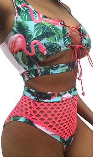 3 Piece Bikini (Gogoboi Women's African Retro Swimwear 2 Pieces Mesh Bathing Suit Bikini Set High Waisted Swimsuit (#3, L))