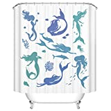 Mermaid Shower Curtain Ormis Mermaids and Sea Life Mildew Resistant Polyester Fabric Shower Curtain Set With Hooks Bathroom Accessories 72