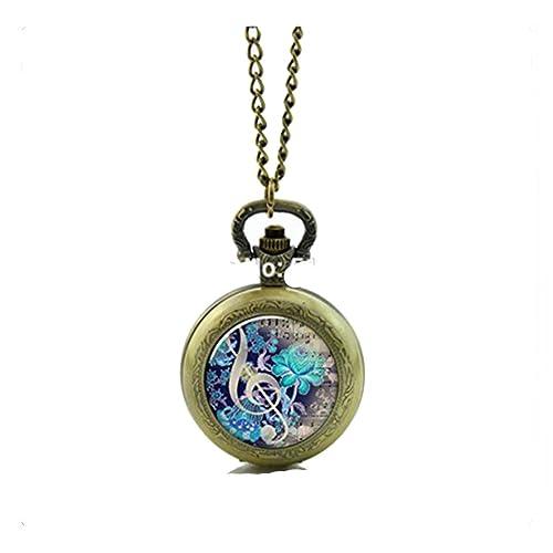 Amazon.com: Música Reloj de bolsillo collar con camafeo de ...