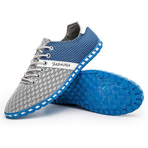 Gris Ejercicio Libre Al Agua de Zapatos Respirable Malla Hombres CUSTOME Aire claro de Casual Ligero Traje Zapatos Plano Suave Neopreno aURSAw
