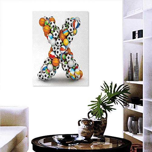 "Warm Family Letter X Artwork Wall Decor Different Type Balls Sporting Goods ABC Design Kids Boys Alphabet Initials Modern Canvas Painting Wall Art 24""x32"" Multicolor"