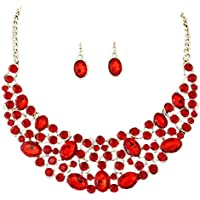 Voberry Women Fashion Gold Plated Diamond Jewelry Set Party Necklace Earrings Set (Red)