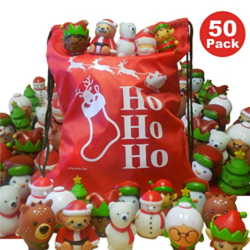 Holiday Drawstring Goody Bags - Bulk Christmas Party Favors for Kids - 50 Pack Holiday Character Vinyl Toys + 1 HoHoHo Drawstring Bag - Stocking Stuffers for Children - Goody Bag Fillers - Xmas Giveaways Prizes Handouts