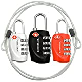 Lumintrail 3 pack TSA Approved All Metal International Travel Luggage 4 Digit Resettable Combination Lock with 4-ft Steel Cable for Suitcase and Baggage - Assorted Colors