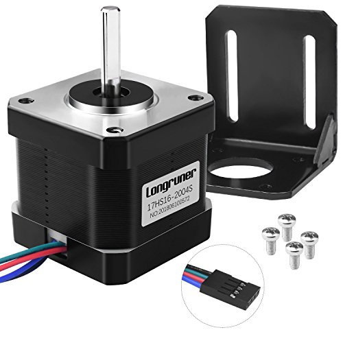 Longruner Nema 17 Stepper Motor, for 3D Printer Hobby CNC, Stepper Motor Bipolar 2A 64oz.in(45Ncm) 42x40mm Body 4-lead w/1m Cable and Connector with Mounting Bracket LD08 by Longruner