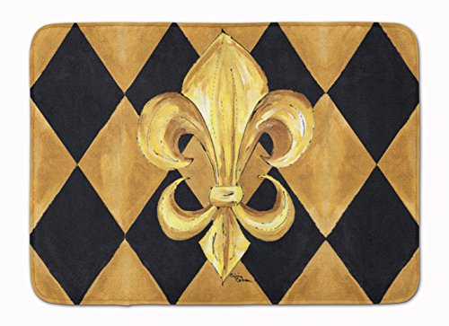 Caroline's Treasures Black and Gold Fleur de lis New Orleans Floor Mat, 19