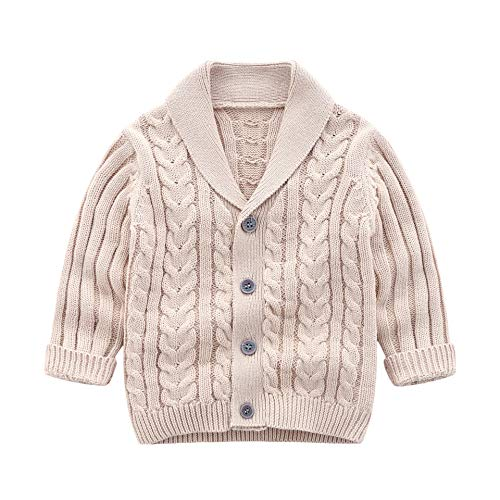 Crochet Sweater V-neck - Infant Baby Boys Cardigan Crochet Sweater V-Neck,Toddler Knit Button up Knitted Pattern Pullover Sweatshirt Spring (Khaki, 6-12M)