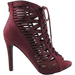 Beston BA83 Women's Back Zipper Front Lace Up Stiletto Heel Cut Out Dress Shoes MVE Shoes , mve shoes tinley burgandy size 8.5