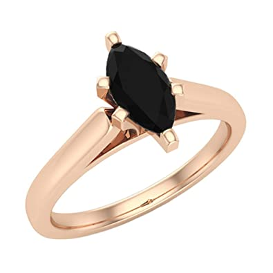 4973c8a09d510 3/4 ct tw Black Diamond Solitaire Engagement Ring Marquise Cut 14K Gold