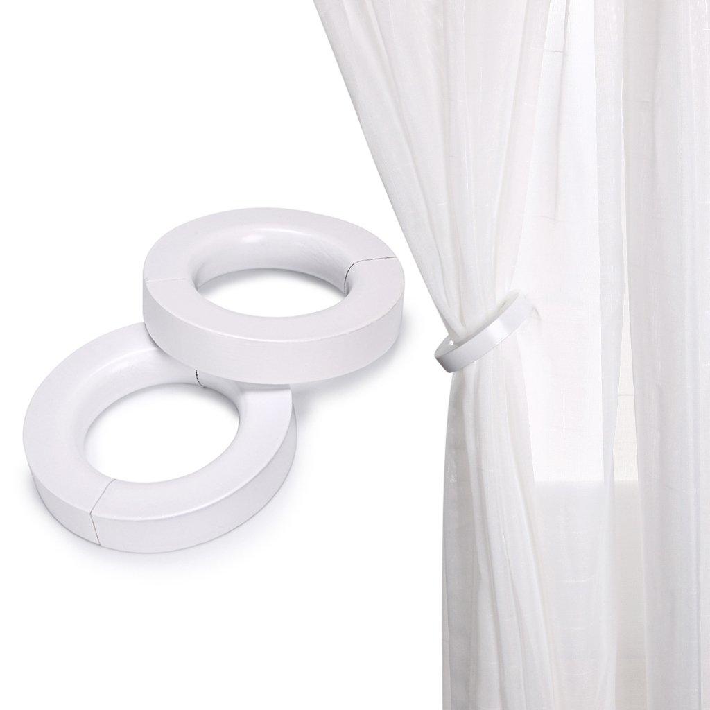 BTSKY Decorative Wooden Curtain Tiebacks Magnetic Set of 2 Window Treatment Holdbacks Drape Binds Varnish Finish Home Décor(White)