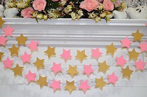 Wedding garland Birthday Garland decoration Star Garland Gold and Pink Star banner Baby shower bridal shower decor