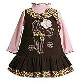 Baby Girls 3M-24M Brown Pink Embroidered Kitten Kitty Cat Corduroy Jumper Dress
