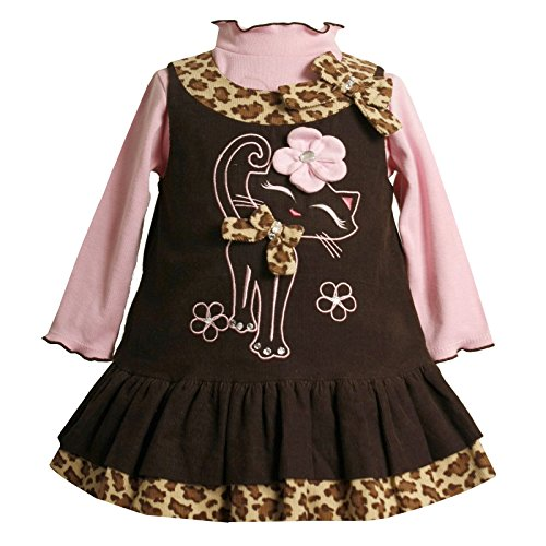 Baby Girls 3M-24M Brown Pink Embroidered Kitten Kitty Cat Corduroy Jumper Dress