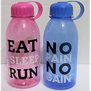 Set of 2 Motivational Water Bottles 29 Fl Oz. Eat Sleep Run, No Pain No Gain -Sports Bottles