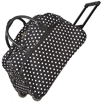 Black White Polka Dots Rolling Wheeled Duffle Bag 21-inch